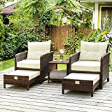 PAMAPIC 5 Pieces Wicker Patio Furniture Set Outdoor Patio Chairs with Ottomans