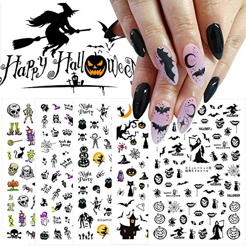 Halloween Nail Stickers 5 Sheets Day of The Dead Nail Decals 3D Self-Adhesive Stickers Nail Art Accessories with Ghost Skull Butterfly for DIY Halloween Party Cosplay Fingernail Toenail Decoration