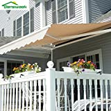 Diensweek Patio Awning Retractable 12'x10', Fully Assembled Manual Commercial Grade - Quality 100% 280G Ployester Window Door Sunshade Shelter - Deck Canopy Balcony P100 Series (12'x10', Beige)