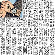 🐤【52 Sheets 300+ Patterns Temporary Tattoos For Men Women 】Brand FANRUI Distinctive Design Black Realistic Temporary Tattoos For Women Men Adults Lady Lovers Female Child DIY 3D Custom Tattoo Cover Up Makeup Tips Styling Tools. 🐤【Variety Exquisite Te...