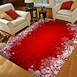 Red Christmas Area Rugs 5x7, Snowflake Area Rugs for Living Room Bedroom, Large Area Rugs Red Christmas Snowflake Abstract 44034