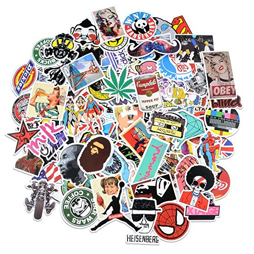 Stickers [100 pcs], Breezypals Laptop Stickers Car Motorcycle Bicycle Luggage Decal Graffiti Patches Skateboard Stickers for Laptop - No-Duplicate Sticker Pack