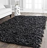 Safavieh Leather Shag Collection LSG511A Hand-Knotted Area Rug, 4' x 6', Black
