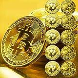 10 Pcs Gold Bitcoin Commemorative 2020 New Collectors Gold Plated Bitcoin