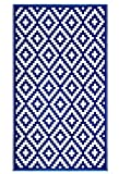 FH Home Indoor/Outdoor Recycled Plastic Floor Mat/Rug - Reversible - Weather & UV Resistant - Aztec - Navy Blue/White - 4' x 6'