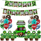 Pixel Miner party supplies Pack Includes Pixels Miner Banner Cake Topper 24 Cupcake Toppers 14 Balloons for Pixel Miner party decoration