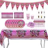 REYOK Party Supplies Set,78 Pcs Fournitures de Fête Vaisselle LOL Surprise Dolls,Enfants de Décoration Happy Birthday Party Vaisselle,Tasses Serviettes Nappe Papier Bannière-Servir 10 Invités