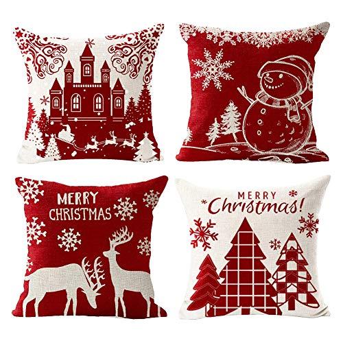 Gspirit 4 Pack Cuscini Divano Pupazzo di Neve di Natale Alce Cotone Biancheria Decorativo Copricuscini Divano 45x45 cm