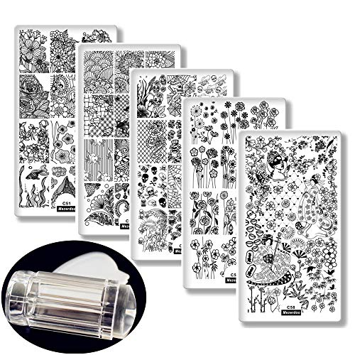 5Pcs Nail Stamping Plates Leaf/Cobweb/Skull/Flowers Patterns Nail Art Decoration Polish Template Japanese Series Nail Tools Stencil with Clear Jelly Stamper Scrapper