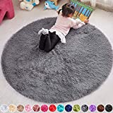 PAGISOFE 5x5 Area Rug Round Grey Rug Circle Rugs for Kids Bedroom Fluffy Carpets and Shaggy Rugs Small Teepee Furry Mat Comfy Reading Rug Circular Rug 5x5 Rugs for Girls Boys Baby Room