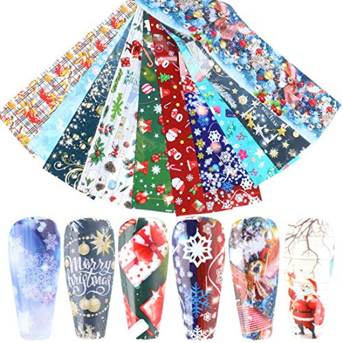 Christmas Nail Foil Transfers Stickers Christmas Nail Art Stickers 10 Pcs Colorful Cute Christmas Theme Nail Decals Tips Wraps Nail Art Supplies Decorations for Christmas Party Favor Nail Decor