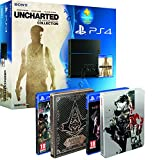 Contenu Console PS4 500Go + Uncharted : The Nathan Drake Collection + PS Plus 3 mois Assassin's Creed : Syndicate + Steelbook exclusif Amazon Metal Gear Solid V : The Phantom Pain + Steelbook exclusif Amazon