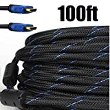Premium Braided Nylon HDMI Cable Gold Series High Speed HDMI Cable with Ferrite Core for PS4, HD-DVR, Digital/Satellite Cable HDTV 1080P Blue (100 Feet)
