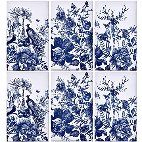 Geiserailie 6 Pieces Chinese Style Kitchen Tea Towels Chinoiserie Dish Towels Animal Kitchen Bar Towels Peacock Elk Flower Large Plate Cloth Set, Blue and White