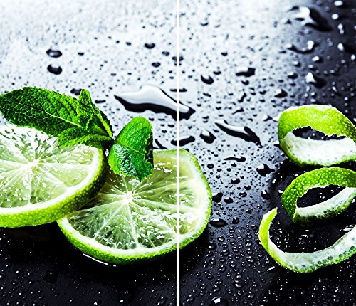 DAMU |Ceranfeldabdeckung 2 Teilig 2x30x52 cm Herdabdeckplatten Küche Elektroherd Induktion Herdschutz Spritzschutz Glasplatte Schneidebrett Grün Zitrone