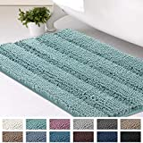 Bath Mats for Bathroom Non Slip Luxury Chenille Striped Bath Rugs 20x32 Absorbent Non Skid Fluffy Soft Shaggy Rugs Washable Dry Fast Plush Area Carpet Mats for Indoor, Bath Room, Tub - Eggshell Blue