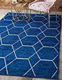 Unique Loom Trellis Frieze Collection Lattice Moroccan Geometric Modern Navy Blue Area Rug (4' 0 x 6' 0)