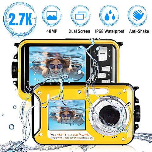 Macchina Fotografica Subacquea 2.7K Full HD Fotocamera Subacquea Digitale 48.0 MP Telecamera Subacquea con doppio schermo Flash Light per lo snorkeling