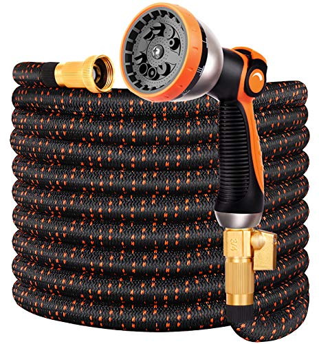 Double Couple Garden Hose Flexible Car Wash Water Hose - Super Durable 3750D,4-Layers Latex,3/4' Nozzle Solid Brass Connectors with 10-Way Professional Zinc Water Spray Nozzle(50 FT, Orange)