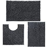 Bathroom Rugs Chenille Bath Mat Set of 3, Extra Soft and Absorbent Shaggy Rugs, Machine Wash and Dry, Perfect Plush Carpet Mats for Tub, Shower, and Bath Room, Washable Carpets Set, Charcoal Grey