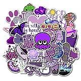 SZYND Pegatinas Decorativas púrpuras de Dibujos Animados para niña para Maleta, monopatín, Pegatina para Ordenador portátil, calcomanías, 50 unids/Set
