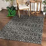 Well Woven Nors Dark Grey Indoor/Outdoor Flat Weave Pile Nordic Lattice Pattern Area Rug 5x7 (5'3' x 7'3')