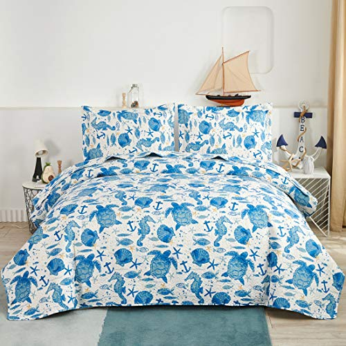 Oliven Marine Life Bedding Turtle Quilt Queen/Full Size Coastal...