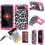 3 items Combo: ITUFFY(TM) LCD Screen Protector Film + Mini Stylus Pen + 2 tone Design Dual Layer KickStand Tuff Impact Armor Hybrid Soft Rubber Silicone Cover Hard Snap On Plastic Case for Motorola Droid Mini XT1030 (Verizon) (Cheetah Pink Leopard - Hot Pink)