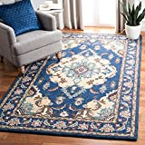 Safavieh Antiquity Collection AT520M Handmade Traditional Oriental Premium Wool Area Rug, 8' x 10', Blue / Ivory