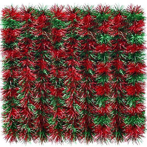 Guirnalda de Oropel Brillante de 32,8 Pies Guirnalda Metálica de Navidad Decoración Colgante para Árbol de Navidad Corona Boda Fiesta (Rojo y Verde)