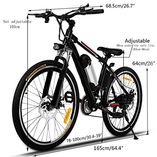 Product Image 3: Kemanner 26 inch Electric Mountain Bike 21 Speed 36V 8A Lithium Battery Electric Bicycle for Adult (Black) (Black)