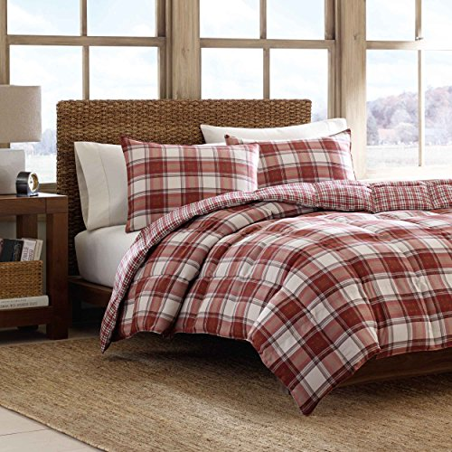 Eddie Bauer Edgewood Plaid Down Alternative Reversible Comforter Set, Full/Queen, Red