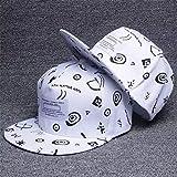 sdssup Hola Gris Sombrero de Hip Hop Sombrero Coreano Protector Solar Gorra de béisbol Marea Bordado Sombrero de Graffiti Plana Blanco Ajustable