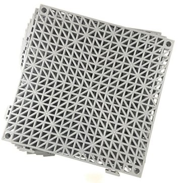 Set of 9 Interlocking Gray Rubber Floor Tiles