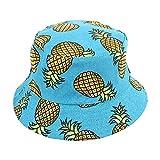 Westeng Chapeau Bob Toile de Coton Motif d'ananas Chapeau de Soleil Double Face Pliable Anti-UV Protection Été pour Femmes 56-58cm