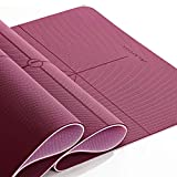 JELSYOGA 6mm thick Yoga Mat,High Density TPE Non-Slip yoga mats for women with Alignment,72'X26' large exercise mat with Carrying Strap,Anti-Tear workout mats for home,gym,fitness,floors(1/4inch )
