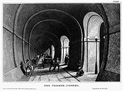 Wall Decor Prints: London Thames Tunnel Nview From Inside The Thames Tunnel Built Beneath The Thames River In London England Between 1825 And 1843 Under The Direction Of Engineers Marc Isambard Brunel And Isambard Kingdom Brunel Steel Engraving Germa...