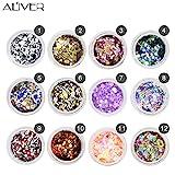 Aliver Sequins del chiodo del chiodo 12 colori UV Gel DIY Glitter Decorazione Nail Art Sequins Polvere