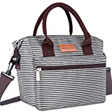 BALORAY Lunch Bags for Women Leakproof Insulated Crossbody Lunch Bag Lunch Pail Adults lunch Box Lunch Cooler Bag for Women,Nurse,Teachers (Black White Strip)