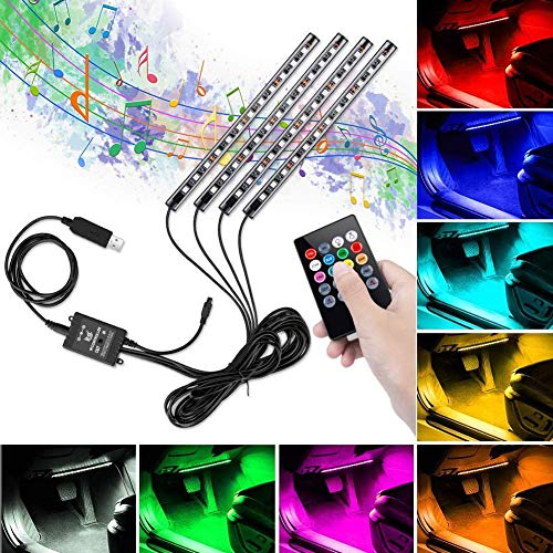 Led Auto Interni, Winzwon Striscia LED Auto Luci LED Interne per Auto con 48 LED DC 12 V Multi Color...