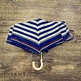 weichuang Paraguas microteñido paraguas pequeño fresco gancho plegable paraguas azul marino rayas viento ligero portátil estudiante paraguas Parapluie unisex (color: azul)