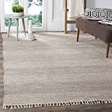 Safavieh Montauk Collection MTK330M Handmade Flatweave Ivory and Steel Grey Cotton Area Rug (8' x 10')
