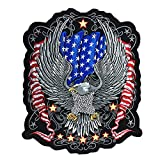 PPXP Embroidered Patriotic Patch, Patriotic Eagle American Flags Embroidery Patches, Eagle Engine Embroidery Patch Motorcycle Vest Biker Iron on, Embroidery Bald Eagle Appliques (Eagle (Flag&Stars))