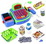 AJ Toys & Games 3251-X Pretend Play Electronic Cash Register Toy Realistic Actions & Sounds, Green