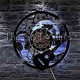 UIOLK Música Rock Guitarrista Logo Auriculares Notas Disco de Vinilo Reloj de Pared LED luz Nocturna Guitarra Instrumento Musical decoración