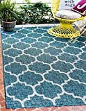 Unique Loom Outdoor Trellis Collection Casual Moroccan Lattice Transitional Indoor and Outdoor Flatweave Teal  Area Rug (6' 0 x 9' 0)