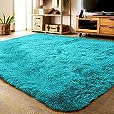 LOCHAS Ultra Soft Indoor Modern Area Rugs Fluffy Living Room Carpets Suitable for Children Bedroom Home Decor Nursery Rug 5.3x7.5 Feet, Blue