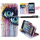 iPod Touch 5 Case, i Touch 6 Case Wallet, iYCK Premium PU Leather Flip Carrying Magnetic Closure Protective Shell Wallet Case Cover for iPod Touch 5/6 with Kickstand Stand - Colorful Eye