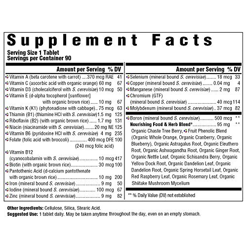 MegaFood, Women's One Daily, Daily Multivitamin and Mineral Dietary Supplement with Vitamins C, D, Folate and Iron, Non-GMO, Vegetarian, 90 Tablets (90 Servings) (FFP) 5
