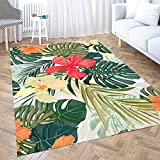Gesmatic Collect Modern Carpets,Farmhouse Area Rug Summer Colorful Hawaiian Pattern Tropical Plants Hibiscus Flowers Traditional Carpet,Suitable for Living Room,Kitchen,Outdoor,5X7